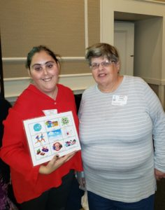 Self-Advocacy Group President Christine Achilles with conference presenter at the 21st Annual Self-Advocacy Conference.