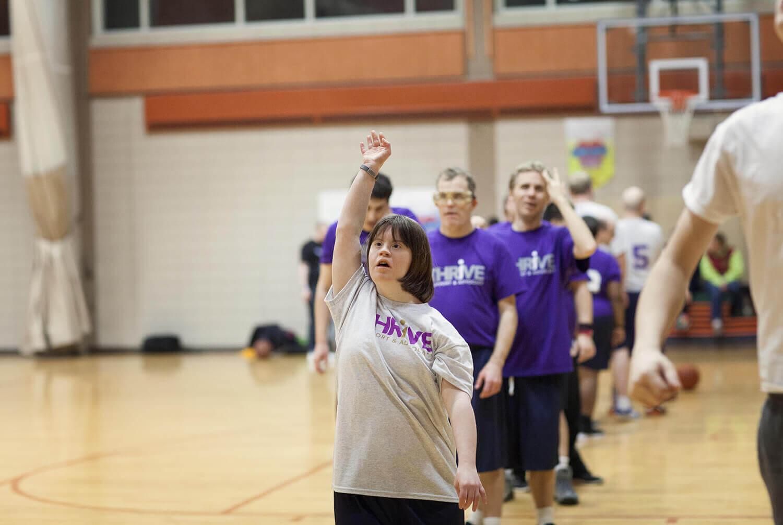 Thrive Basketball players warming up