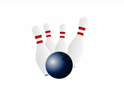 bowling pins and ball graphic