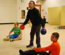 playing dodgeball at Thrive after school