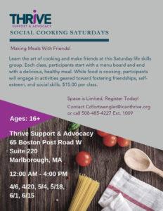 Social Cooking Saturdays flyer