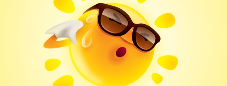 sun graphic with sunglasses on