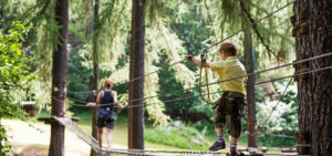 child walk on suspension bridge