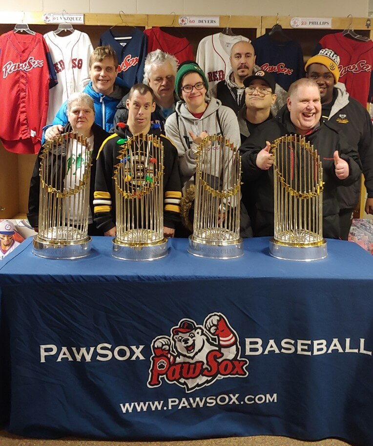 participants with the World Series Trophy